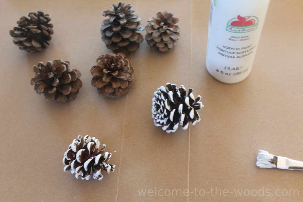 Paint the tips of pine cones white for an adorable holiday decorating idea