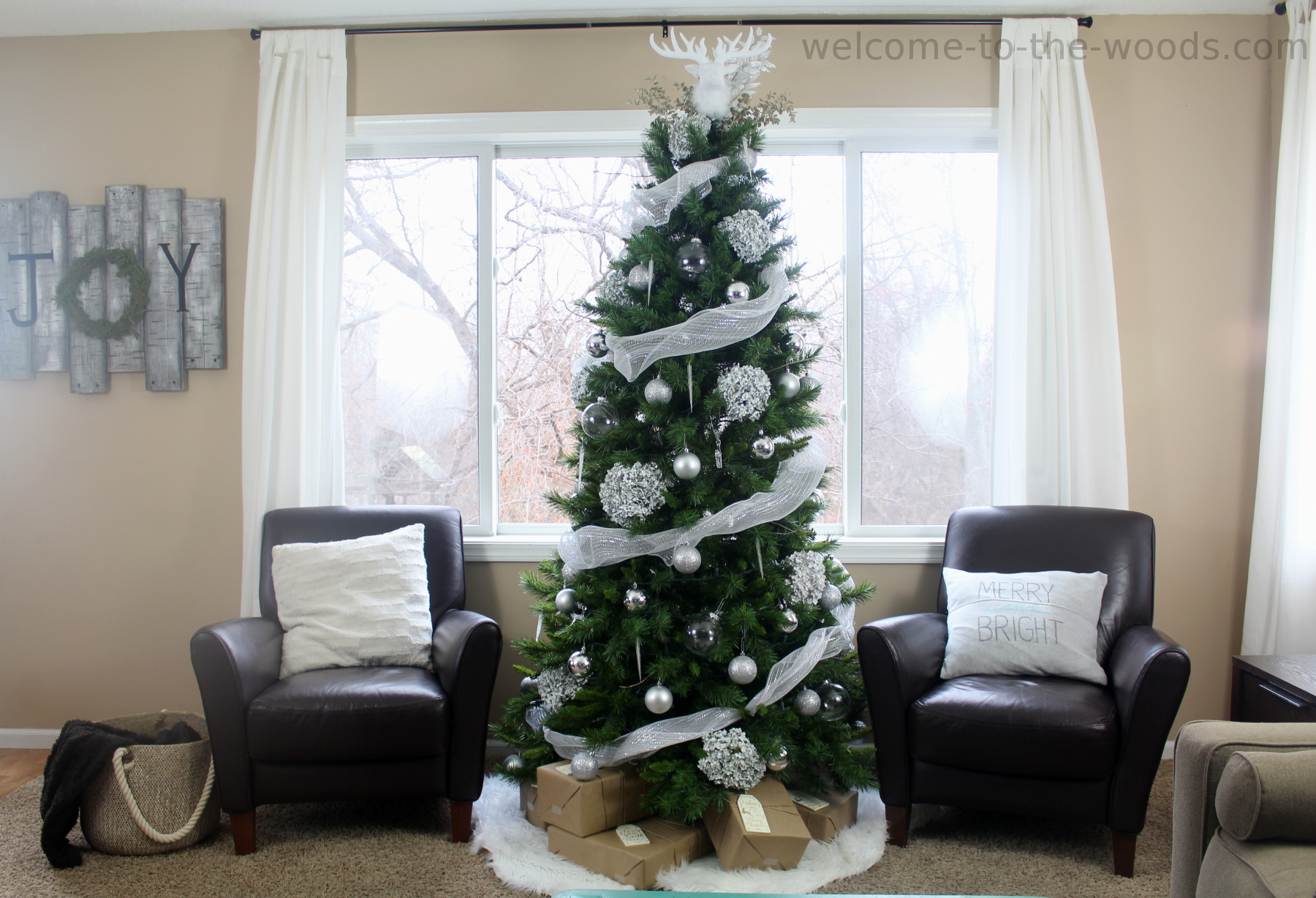 White Winter Woodland Christmas Tree - Welcome to the Woods