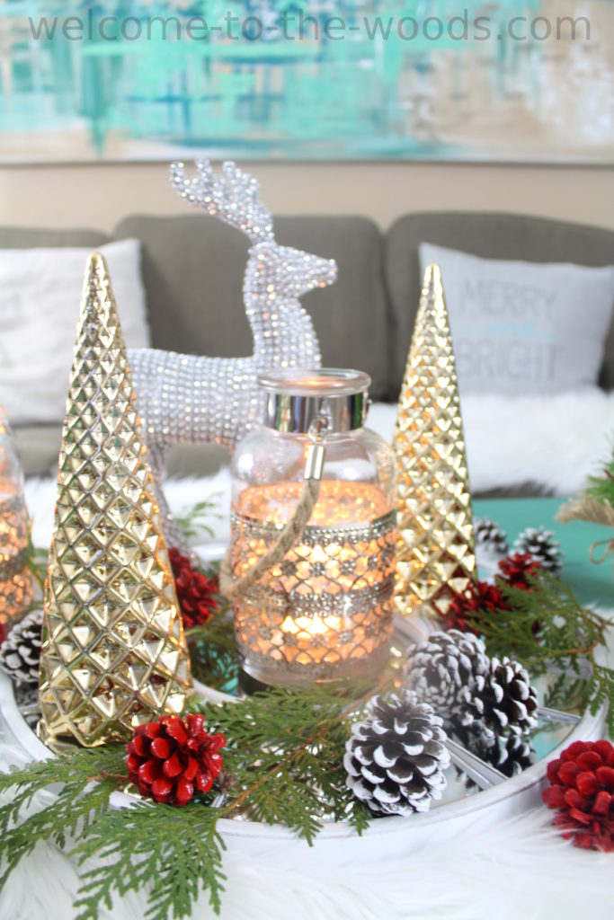 Beautiful holiday display with dollar store items and natural elements