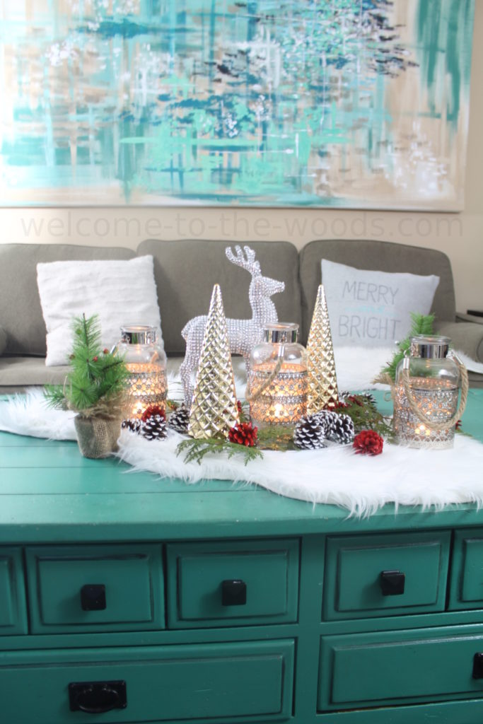 Beautiful holiday display used as a coffee table centerpiece for Christmas decorating
