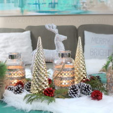 Hollar.com swag and natural elements create this gorgeous holiday display for coffee table centerpiece.