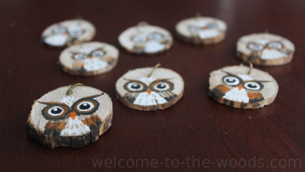 Hand Painted Owl Key Chains Made From Wood Slice Welcome