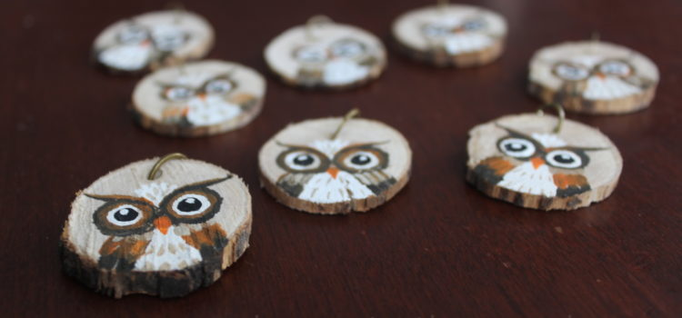 Hand-Painted Owl Key Chains Made From Wood Slice