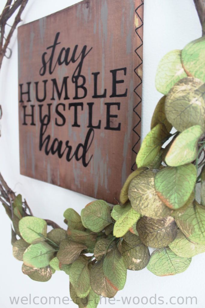 This sign's hand lettering was easy to get perfect by using a projector to display text for me to trace with a paint pen. Learn how to do it with a video tutorial included.